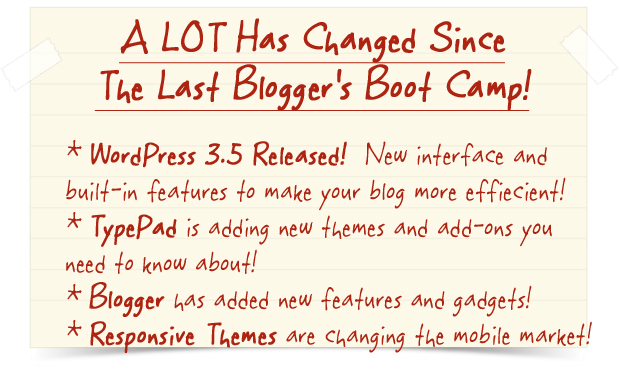 2012 Blogger's Boot Camp