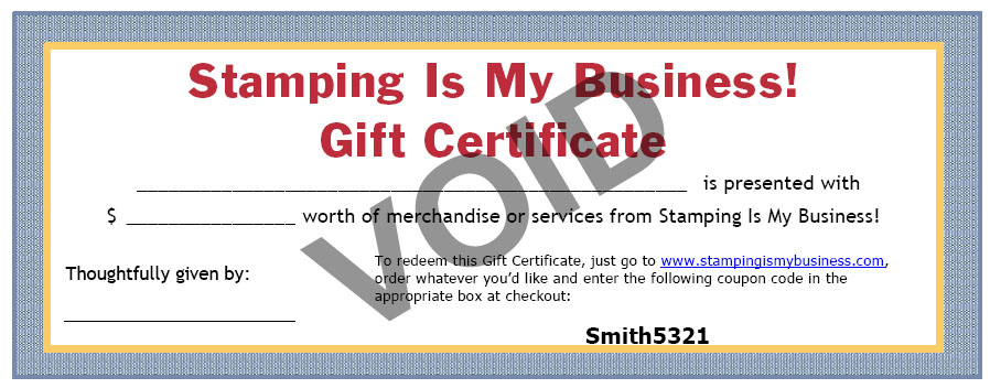 stamping is my business gift certificates